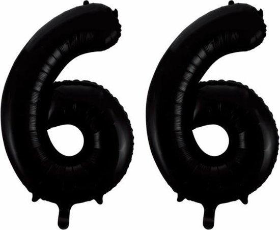 Folieballon 66 jaar zwart 86cm