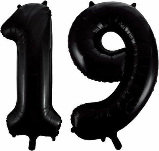 Folieballon 19 jaar zwart 86cm