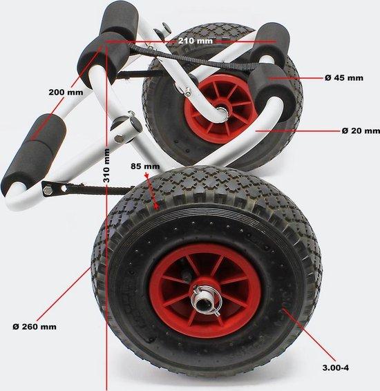 Aluminium Kano transportwagen; opvouwbaar tot max. 45 kg - boottrolley kanotrolley kanokar kajak kajakkar accessoire SUP - Multistrobe