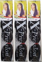 X-pression Ultra Braid Kanekalon expression Hair #2 Black-Brown (3 stuks)