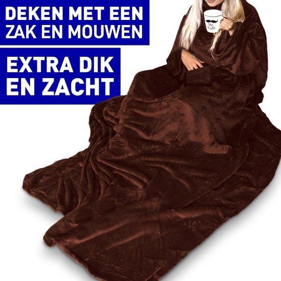 MikaMax - Snuggie Rug Deluxe Fleece deken met mouwen- 150x215cm - Bruin