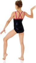 turnpakje gympakje zwart roze met bandjes voor meisjes turnen gymnastiek ballet maat 116 - 122