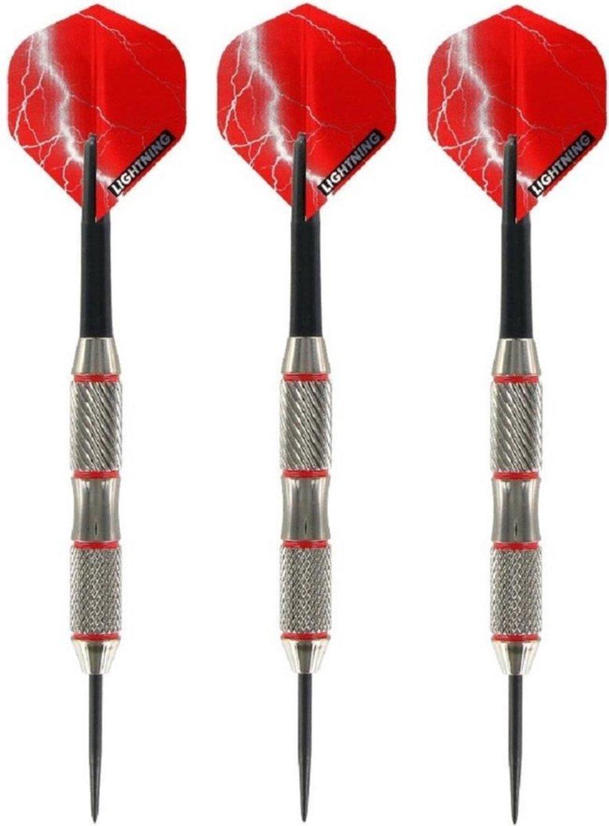 4x Set van 3 dartpijlen Blackjack Brass Red 25 grams - Darten/darts sport artikelen pijltjes messing