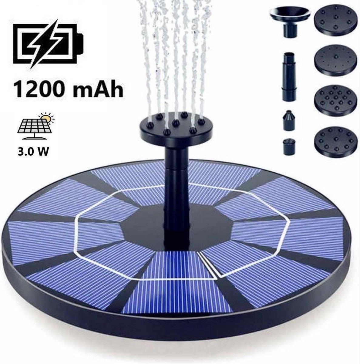 Solar Fontein op Zonne Energie - Upgrade met Accu - 6 Opzetstukken en Sproeicombinaties - 1200mAh Batterij Backup - 3.0 W - ⌀180mm