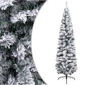 Kunstkerstboom met sneeuwvlokken - smal - 180 cm - PVC Groen - voor binnen en buiten