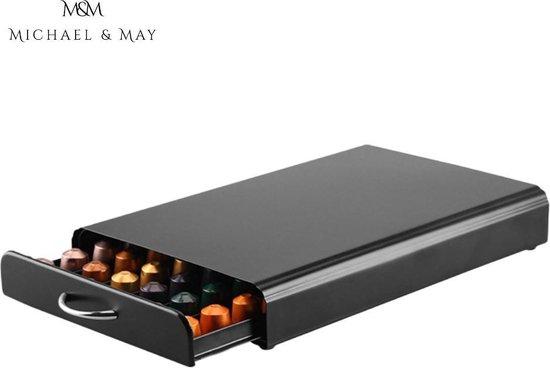 Michael & May® - Nespresso Capsulehouder – Cuphouder – Houder – 50 Capsules – Met Lade – RVS – Zwart