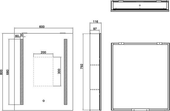 Bol Com Led Badkamer Kast Met Verlichting Arya 60x80cm 6 Mm Dubbelzijdige Spiegel Aluminium