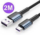 USB-C Oplaad en Data Kabel - 2 Meter - Samsung - Huawei - Xiaomi - Sony - OnePlus - Motorola - Laadkabel - Ondersteund Snelladen