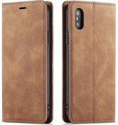 Apple iPhone XR Luxe Leren Bookcase   Bruin   Portemonnee Hoesje   Lederen Wallet Case   Magnetisch