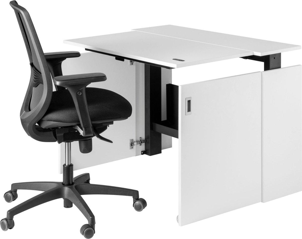 HomeFit - Zit sta bureau - Wit - Verstelbaar bureau