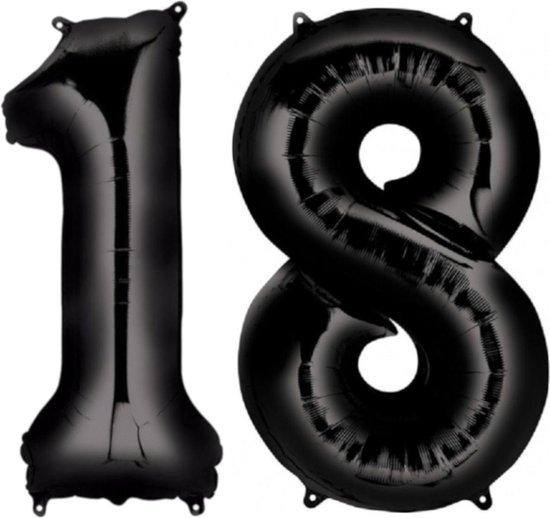 Ballon Cijfer 18 Jaar Zwart Verjaardag Versiering Zwarten Helium Ballonnen Feest Versiering 86 Cm XL Formaat Met Rietje