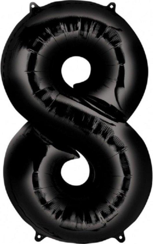 Ballon Cijfer 8 Jaar Zwart Verjaardag Versiering Zwarten Helium Ballonnen Feest Versiering 86 Cm XL Formaat Met Rietje