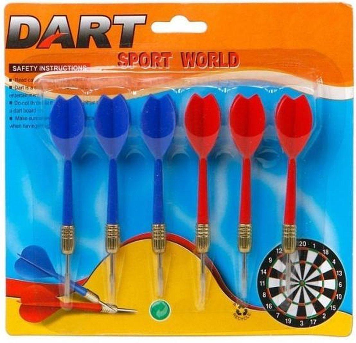 6x Dartpijlen rood en blauw 11,5 cm sportief speelgoed