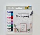 folia penseelstift brush pens basic en pastel 8 stuks set
