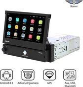 Boscer® 1Din Autoradio | Android 8.1 | Navigatiesysteem | 7' HD klapscherm | USB, Aux, Bluetooth, WIFI | Achteruitrijcamera