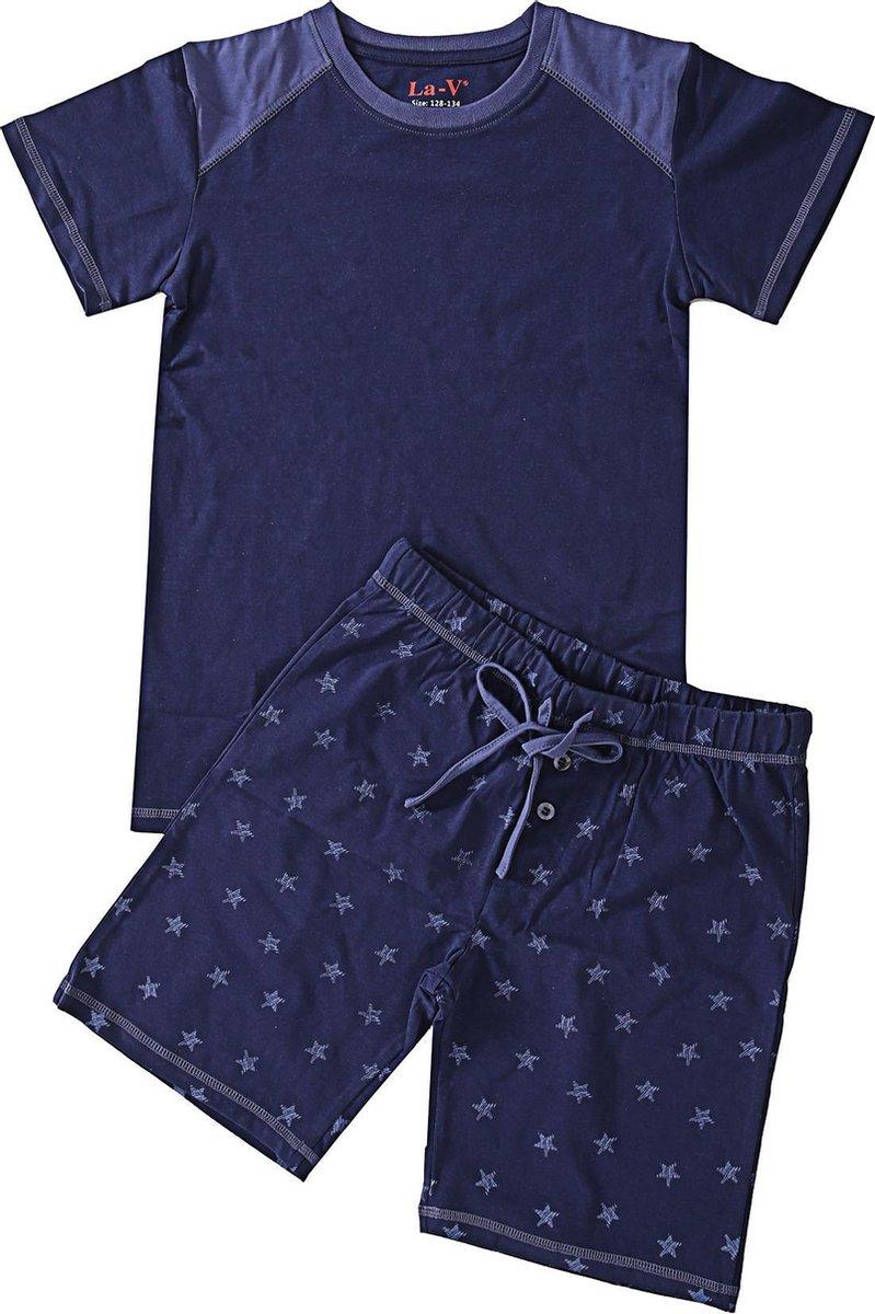La V Shortama voor jongen- Donkerblauw met sterren print 164-170