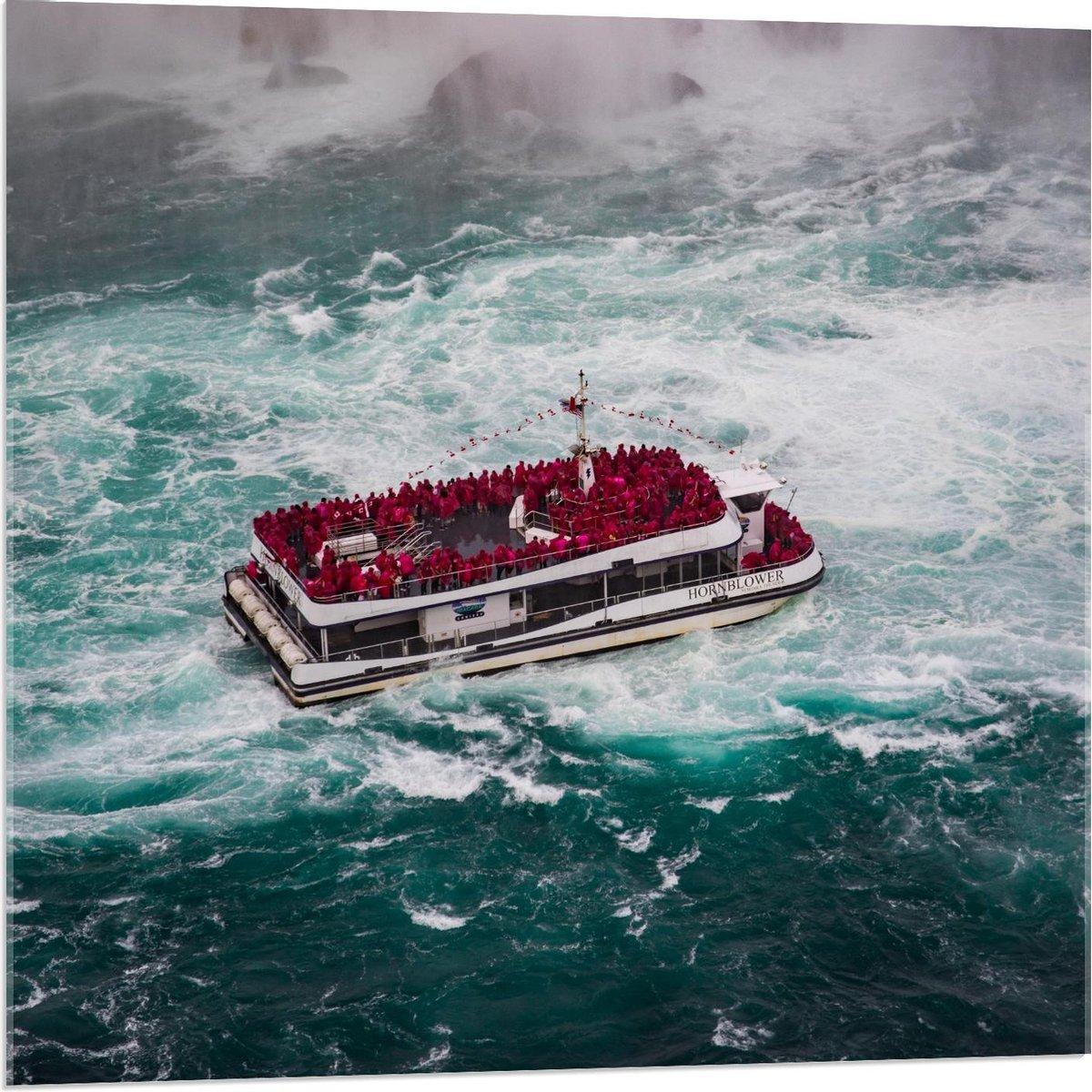 Plexiglas - Personenboot op Zee - 80x80cm Foto op Plexiglas (Met Ophangsysteem)