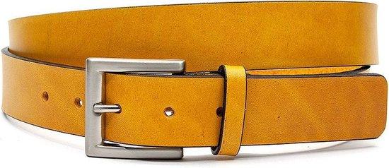 Sportieve okergele jeansriem 3.5 cm breed - Oker geel - Casual - Leer - Taille: 100cm - Totale lengte riem: 115cm - Unisex riem