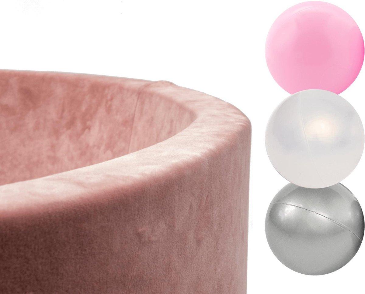 Ballenbak Velvet set met 150 ballen - Roze, Meisjes - Ballenbad met ballen - Ballen voor ballenbad - Ballenbad - Ballenbad ballen - Ballenbad Baby - Ballenbak Ballen - Ballen voor ballenbak - Ballenbak baby - Ballenbakballen