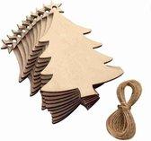 Houten Kerstballen / Moderne Kerst Ballen voor In Uw Kerstboom / 10 stuks / Kerstmis Versiering / Kerstbal van Hout / In de vorm van een Kerstboom