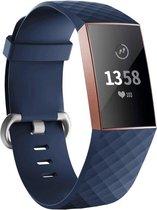 charge 3 & 4 sport wafel band - donkerblauw - Geschikt voor Fitbit - SM - Horlogeband Armband Polsband