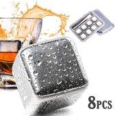 RVS ijsblokjes - set van 8 - whiskey whiskeystones en likeur - ijsblokjes staal
