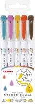 Zebra Mildliner Brush : Warme kleuren 5 stuks - Brush + Stift - Bullet journal - JP