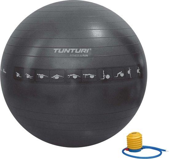 Tunturi Fitnessbal - Gymball - Swiss ball - 65 cm - Anti burst - Incl. pomp - Zwart