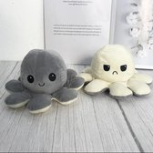 Octopus Knuffel Mood - Mood Octopus - Emotie Knuffel - Emotie Octopus Knuffel - Omkeerbare Octopus Knuffel - Octopus Knuffel Omkeerbaar - Reversible Octopus – Grijs-Wit