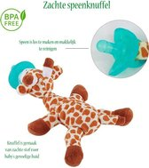 E-HART- Speenknuffel Giraffe - Knuffelspeen - Knuffel Dier - FDA vrij- Eco Vriendelijk - kraamcadeautje -BPA Vrij-inclusief rammelaar