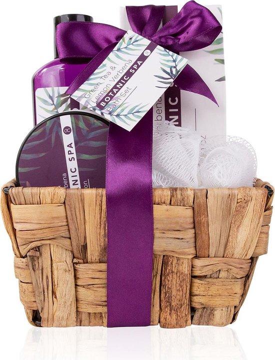 Verjaardag cadeau vrouw – 4-delige Badset geschenkset – In zeegras mand – Green Tea & Lemon Verbena – Botanic SPA voor thuis – cadeau voor haar – voor geliefde – voor moeder – voor zus