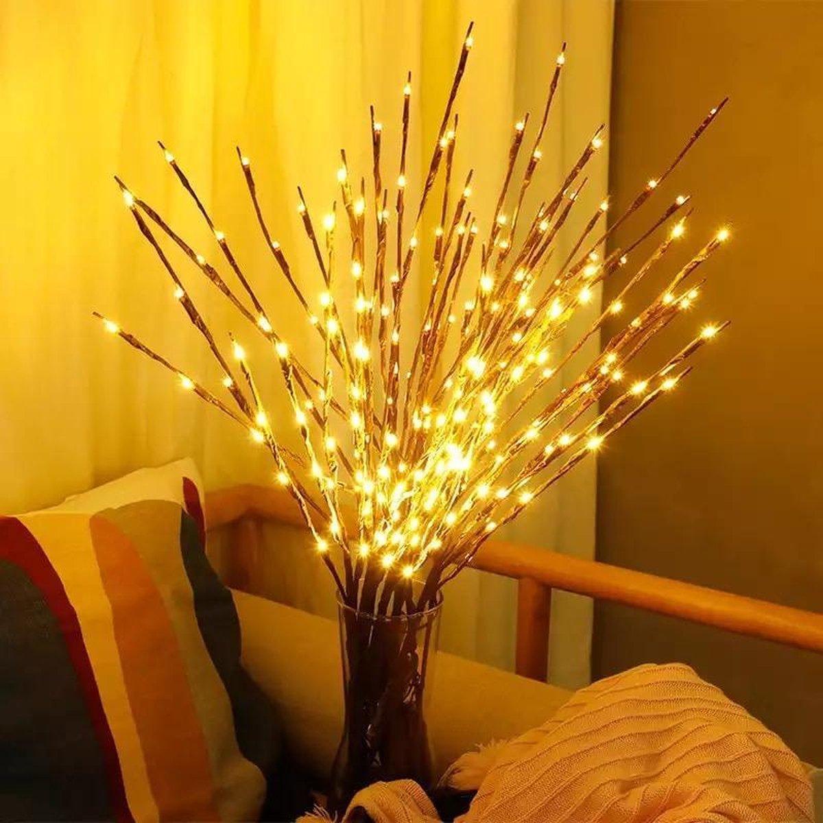 Decoratie takken met led licht - Warm licht - Takkenbos met verlichting - kerstverlichting - herfst verlichting - kerstversiering - 20 ledlampjes - takkenbos met verlichting kopen