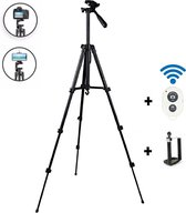 Statief camera & smartphone met afstandsbediening / Tripod smartphone / Tripod camera Statief voor smartphone - verstelbaar - tot 140 cm hoog - statief iPhone - statief telefoon - statief voor telefoon en camera