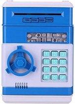 Kluis met Pincode - Lichtblauw - Spaarpot Kind - Munten & Briefgeld - Automatisch Briefgeld Inname Roller - Spaarvarken