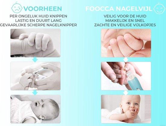 FOOCCA Baby Nagelknipper Manicureset - Oplaadbare Elektrische Baby Nagelvijl - Complete Baby Nagelset en Nageltrimmer - Oplaadbaar - Effectievere Vijlkopjes en Krachtige Motor - Ook voor Kleuters en Mama's - Blauw