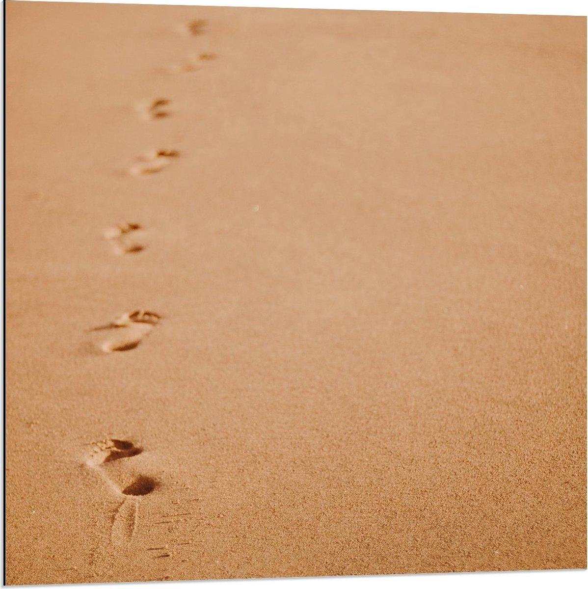 Dibond - Voetafdrukken in het Beige Zand van het Strand - 80x80cm Foto op Aluminium (Met Ophangsysteem)