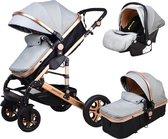Baby Pro Max® Luxe Baby Buggy 3 in 1 | Baby Wagen | Kinderwagen met stoel en wieg | Hoge Kwaliteit | Light grijs