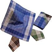 Zakdoeken Heren - Werk Zakdoeken - Exclusief Design - 12 Stuks - 40 x 40cm - Kleur Blauw - Bruin - Groen