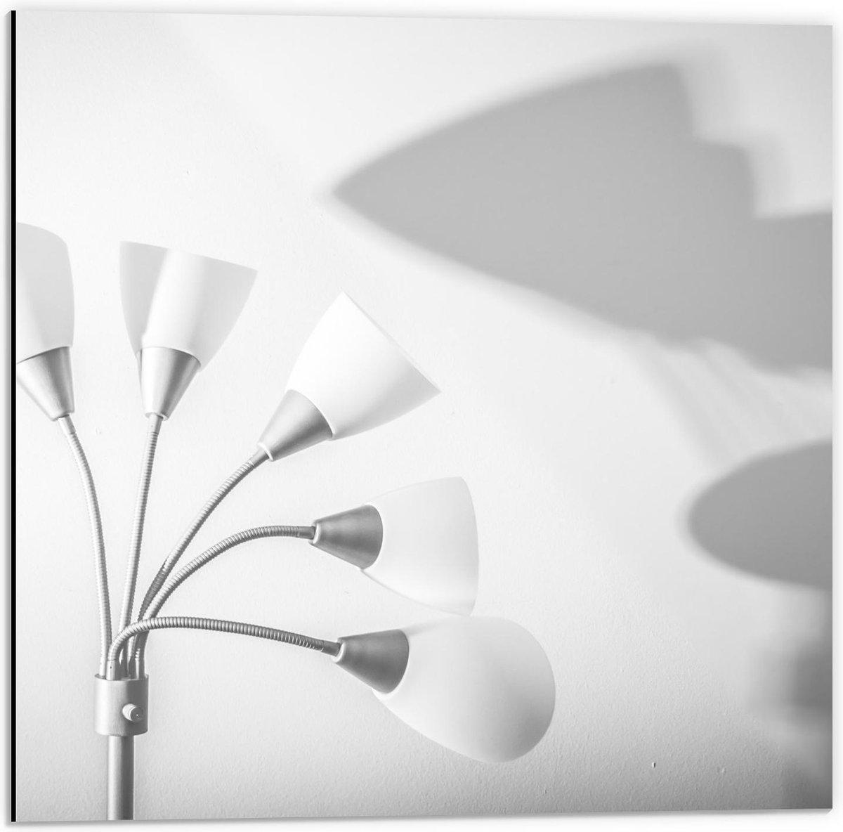 Dibond - Witte Lamp met Schaduw - 50x50cm Foto op Aluminium (Met Ophangsysteem)