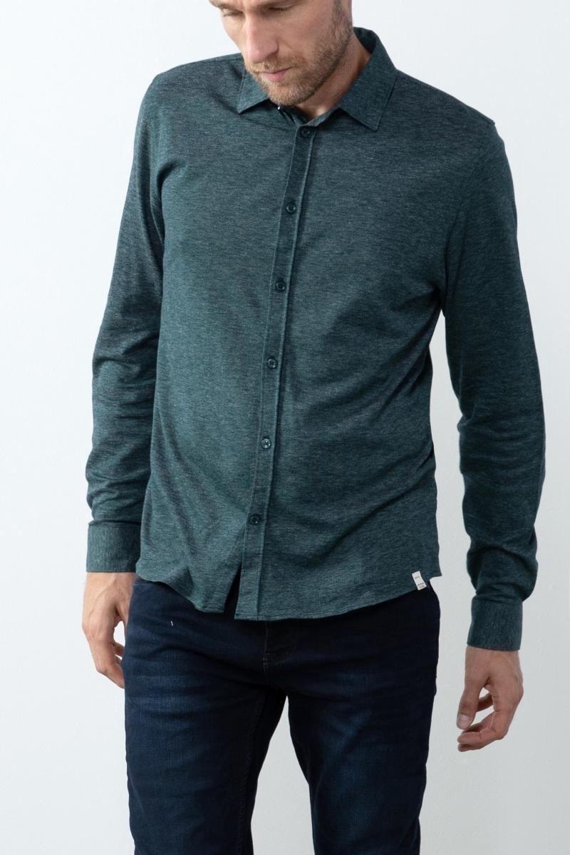 Sissy-Boy - Donkergroen jersey overhemd