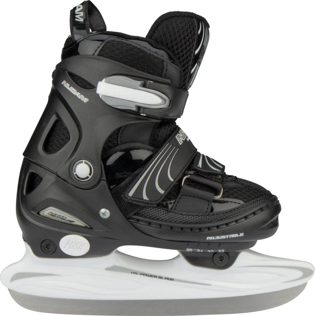 Nijdam Junior IJshockeyschaats - Verstelbaar - Semi-Softboot - Zwart/Wit - Maat 34-37