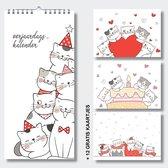 Luxe verjaardagskalender katten incl. gratis set kattenkaartjes - geen jaartal - wandkalender - kalender DutchDesign