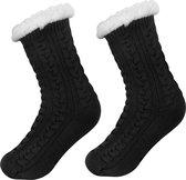 JAXY - Huissokken Dames - Verwarmde Sokken - Anti Slip Sokken - Huissokken - Bedsokken - Warme Sokken - Kerstcadeau Voor Vrouwen - Thermosokken - Dikke Sokken - Fluffy Sokken - Kerstsokken Dames en Heren - Zwart