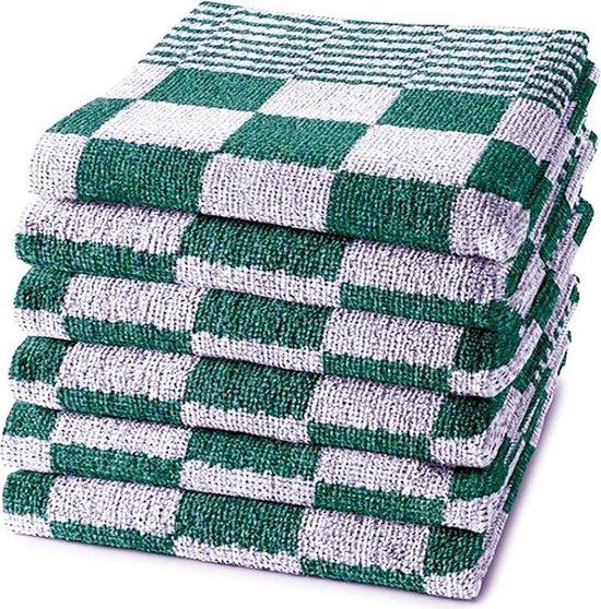 Homéé® Keukendoek 50x50 cm - Holland Art geblokt - 100% katoen - 6 stuks groen - wit