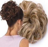 Curly Haar Wrap Extension Blond  Coupe Soleil  Licht Bruin   Inclusief Luxe Bewaarzakje.