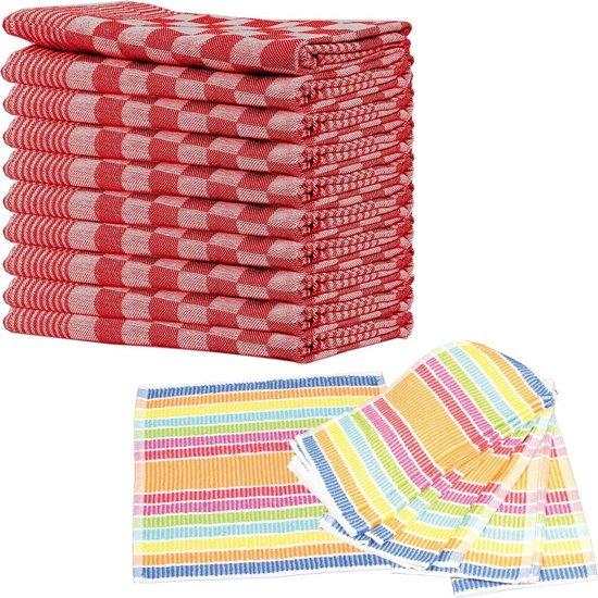 Queens theedoeken 10-pack rood + 10-pack vaatdoeken schoonmaakdoeken