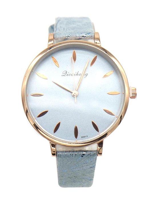 Dielay – Horloge – Kast 36 mm – Band Kunstleer – Quartz – Blauw