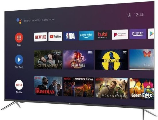 CONTINENTAL EDISON Android TV QLED 55' (139cm) 4K UHD Borderless Wi-fi- Bluetooth Netflix- HDR -Google Assitant - Google Play -