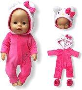 Poppenkleding meisje - Kleertjes geschikt voor o.a. BABY born - Felroze - Kitten - Huispak - Poppenkleertjes 43 cm - Onesie