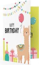 LocoMix - Verjaardagskaart - Muziekkaart - Uitnodiging kinderfeestje - Birthday Lama - kaart